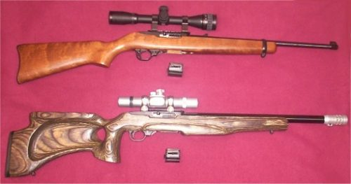 modified and an unmodifed Ruger 10/22